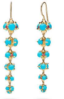 Paul Morelli Turquoise Cabochon & Ruby Bubble Drop Earrings