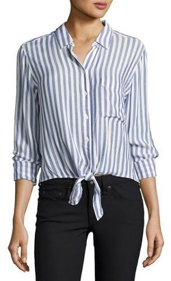 Rails Val Striped Long-Sleeve Shirt, Blue/White $148 thestylecure.com