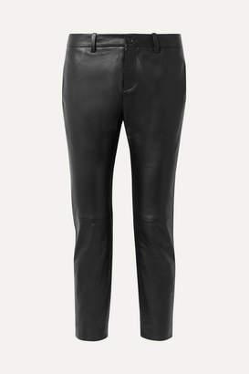 Nili Lotan Tel Aviv Cropped Leather Skinny Pants - Black