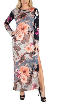 24seven Comfort Apparel Women Form Fitting Floral Long Sleeve Side Slit Maxi Dress