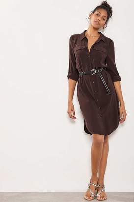 Mint Velvet Womens Brown Chocolate Utility Shirt Dress - Brown