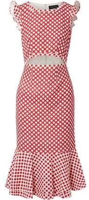 Saloni Cutout Printed Stretch-Crepe Dress