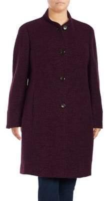 Ellen Tracy Plus Plum Long-Sleeve Coat