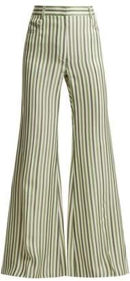 Sonia Rykiel - High Waist Striped Trousers - Womens - Green Stripe