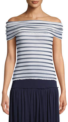 Fuzzi Striped Tulle Off-the-Shoulder Top