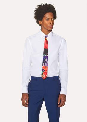 Paul Smith Men's Slim-Fit White Cotton 'Artist Stripe' Cuff Shirt