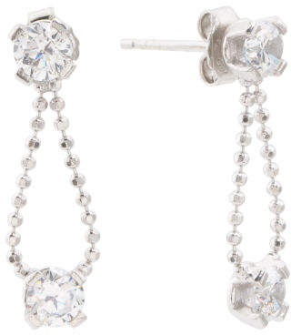 Made In Italy Sterling Silver Cz Chain Post Earrings