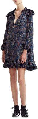 Maje Wave 1 Riley Paisley-Print Trapeze Dress