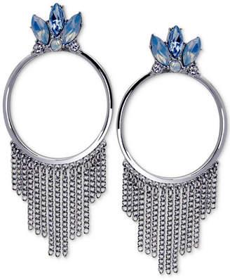 GUESS Silver-Tone Stone & Chain Fringe Drop Hoop Earrings