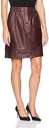 Halston Women's Gathered Leather Skirt