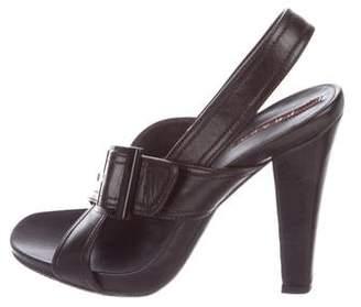 Prada Sport Leather Slingback Sandals