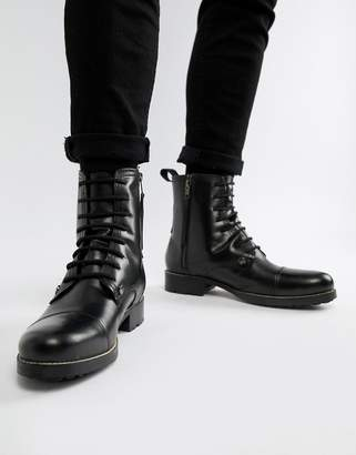 Religion leather lace up boot with fleece lining