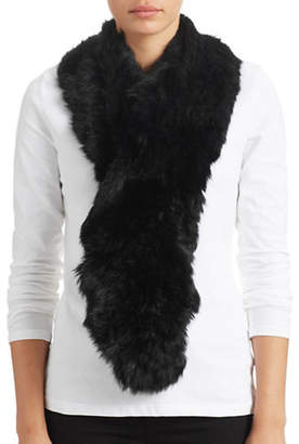 Surell Long Haired Rabbit Fur Ruffle Scarf