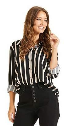 BEIGE SONJA BETRO Women's Stripe Button Down Long Sleeve Shirt Top Office Fashion