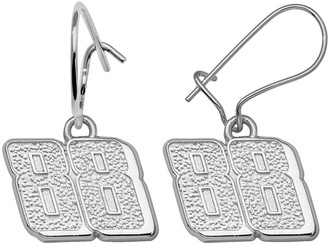 "Insignia Collection NASCAR Dale Earnhardt Jr. Sterling Silver ""88"" Drop Earrings"