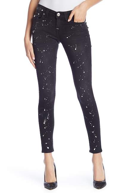 True Religion Super Skinny Back Splatter Jeans
