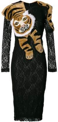 Dolce & Gabbana lace tiger shawl dress