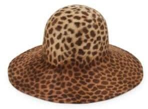 Biba Leopard Print Rabbit Fur Felt Hat