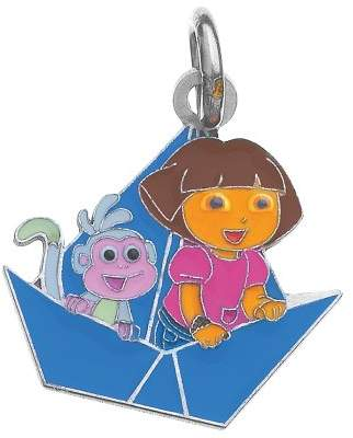 Dora the Explorer 3161047-Artist's Pendant Necklace with Monkey/Boat/Artist Design: 925/1.000 Silver, 0.8 g Email