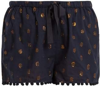 Figue Maja polka-dot jacquard cotton-blend shorts