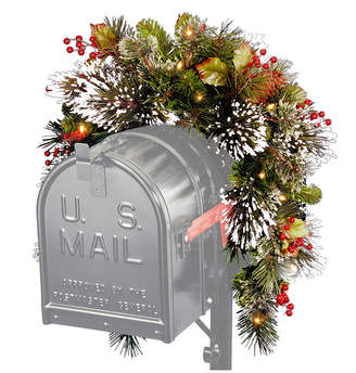 """National Tree Company National Tree 36"""" Wintry Pine(R) Mailbox Swag with Battery Operated Warm White Led Lights"""