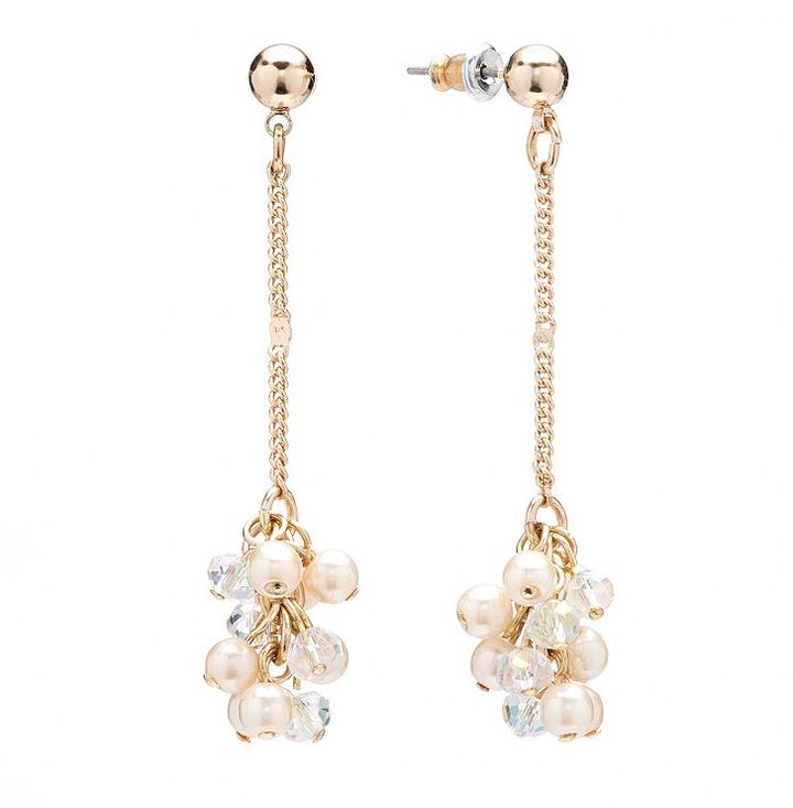Lauren Conrad gold tone simulated crystal and simulated pearl cluster linear drop earrings