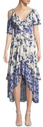 MISA Los Angeles Liv Floral-Print Ruffle High-Low Dress