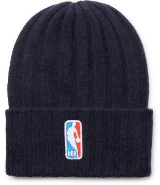 The Elder Statesman NBA Bunny Echo Appliquéd Ribbed Cashmere Beanie