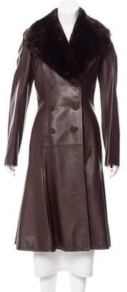 Jean Paul Gaultier Fur-Trimmed Leather Coat