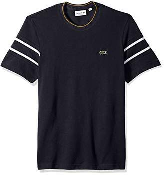 Lacoste Men's Short Sleeve Reg Fit Striped Sleeve Pique Tee