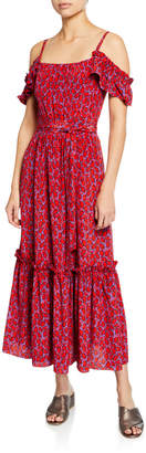 Derek Lam 10 Crosby Cold-Shoulder Printed Cami Dress with Ruffle Hem