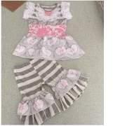 Baby Star Pink and Grey Stripe Petticoat Girls Pant Set 3T/M