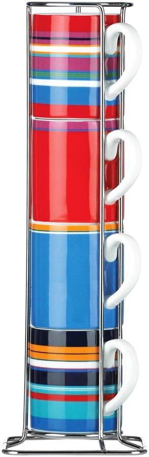 DKNY Urban Essentials Espresso Mugs w/Rack, Set of 4, White - White