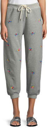 The Great The Cropped Floral-Embroidered Sweatpants