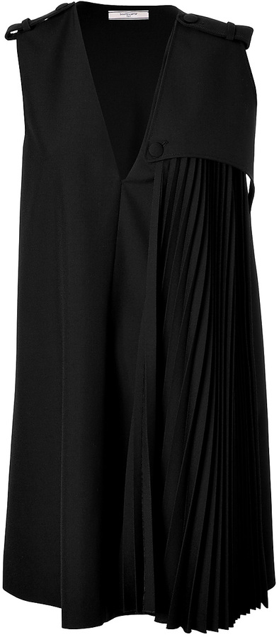 Bouchra Jarrar Black Pleated Sash Wool-Blend Dress