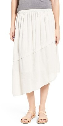Women's Sun & Shadow Asymmetrical Midi Skirt $45 thestylecure.com