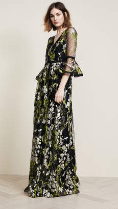 Marchesa Bell Sleeve Gown with Lace Trim