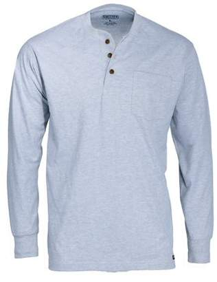 Smith's Workwear Men's Long Tail Long Sleeve Henley with Gusset and Chest Pocket