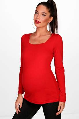 boohoo Maternity Becca Square Neck Long Sleeve Top