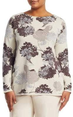 Lafayette 148 New York Lafayette 148 New York, Plus Size Opulent Cotton Floral Jacquard Sweater