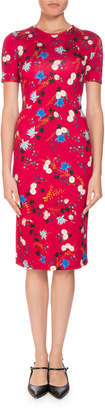 Erdem Essie Hideko Garden Short-Sleeve Crewneck Floral-Print Fitted Dress