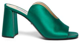 Prada Vamp Block Heel Satin Mules - Womens - Green