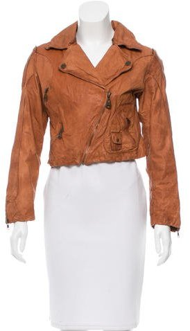 Doma Doma Cropped Leather Moto Jacket
