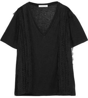 Pierre Balmain Lace-Paneled Jersey T-Shirt