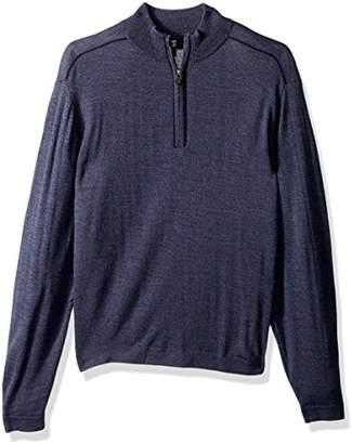 Cutter & Buck Men's Henry Marled Merino Wool Blend Long Sleeve Half Zip Sweater