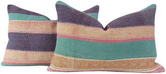 One Kings Lane Vintage Striped Bengal Kantha Pillows - Set of 2