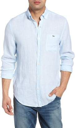 Vineyard Vines Cooper's Town - Tucker Classic Fit Stripe Linen Sport Shirt