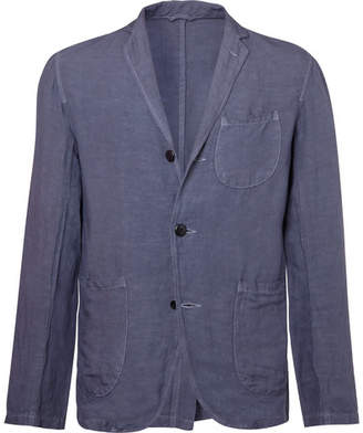 KAPITAL Indigo Unstructured Linen-Blend Blazer
