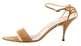 Brian Atwood Suede Strap Sandals gold Suede Strap Sandals