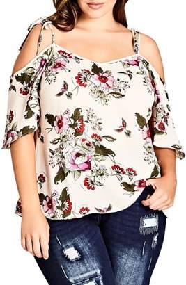 City Chic Lolita Floral Off the Shoulder Top